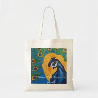 Peacock Peace Budget Tote Bag