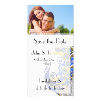 """Peacock/photo  """"Save the Date"""" Personalised Photo Card"""