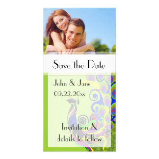 """Peacock/photo  """"Save the Date"""" Photo Card Template"""