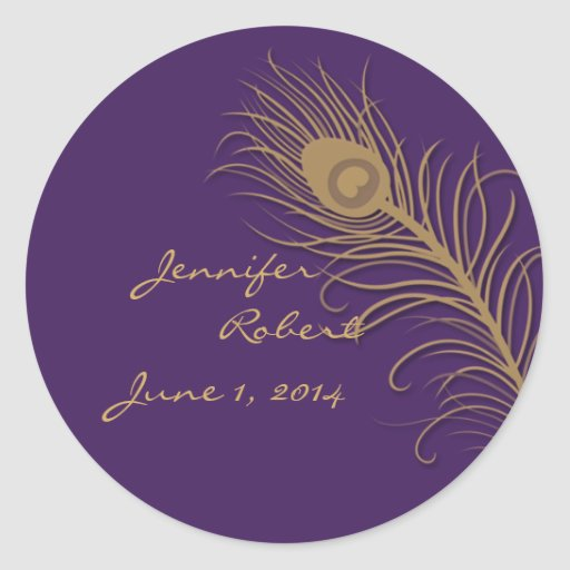 Peacock Plume in Gold and Plum Envelope Seal Round Sticker