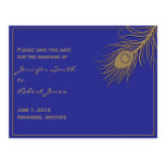 Peacock Plume Save the Date Postcard