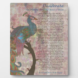Peacock Pointing to the Desiderata Poem Plaque