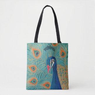 Peacock print tote bag