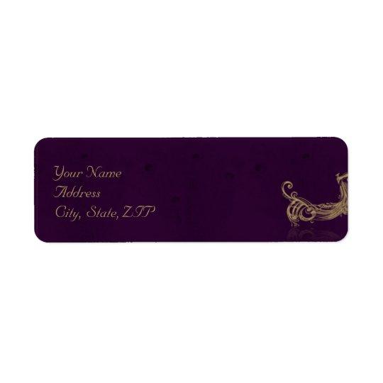Peacock Regency in Purple Return Address Label