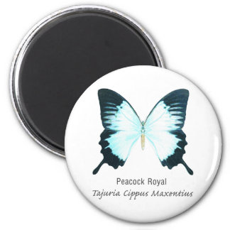 Peacock Royal Butterfly with Name 6 Cm Round Magnet