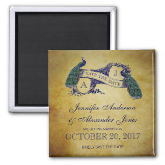 Peacock Rustic Save the Date Magnets