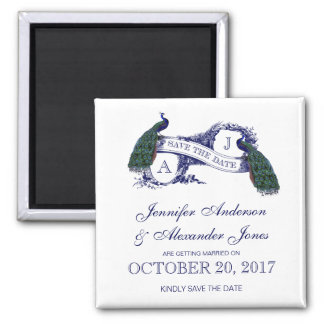 Peacock Rustic Save the Date Fridge Magnet