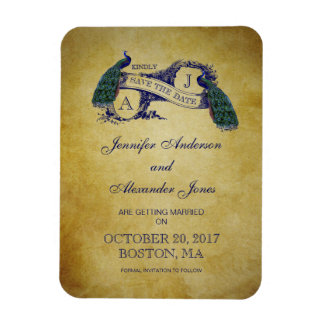 Peacock Rustic Save the Date Magnet