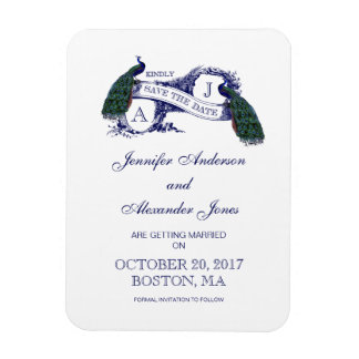 Peacock Rustic Save the Date Flexible Magnet