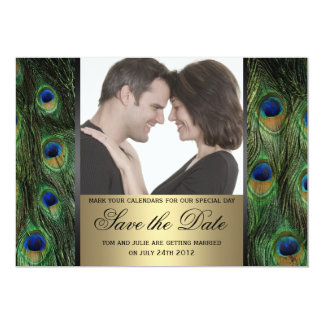 Peacock Save the Date Photo 13 Cm X 18 Cm Invitation Card