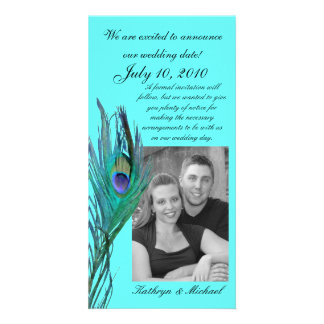 Peacock Save the Date Photocard Custom Photo Card