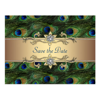 Peacock Save the Date Postcard