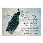 Peacock Scroll Bridal Shower Invitation