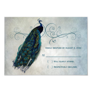 Peacock Scroll RSVP 9 Cm X 13 Cm Invitation Card