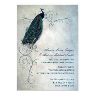 Peacock Scroll Wedding 13 Cm X 18 Cm Invitation Card