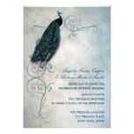 Peacock Scroll Wedding Custom Invitations