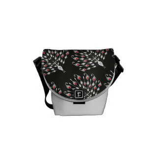 Peacock silhouette stylish black pattern messenger bag