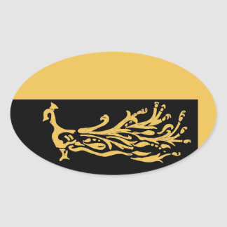 Peacock silhouette with stylised tail feathers oval sticker