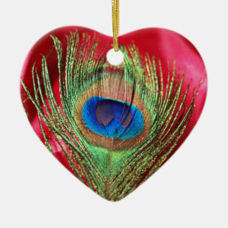 Peacock Silky Red Still Life Christmas Ornament
