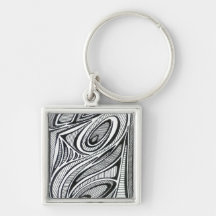 Peacock Silver-Colored Square Key Ring