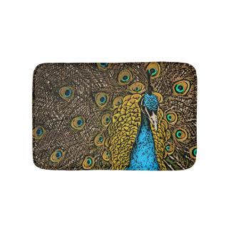 Peacock Splendor Illustration Bath Mat