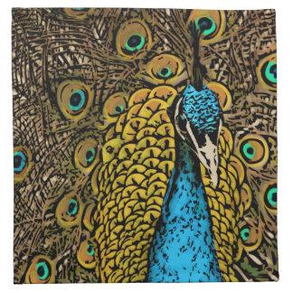 Peacock Splendor Illustration Napkin