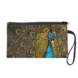 Peacock Splendor Illustration Wristlet