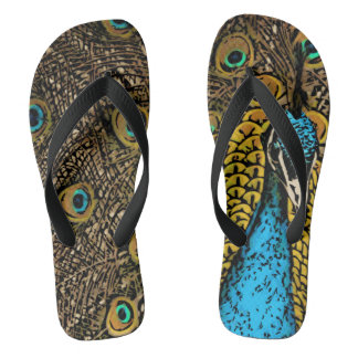 Peacock Splendour Illustration Flip Flops