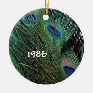 Peacock Still Life in Basket Christmas Ornament