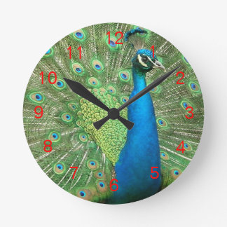 Peacock Strut Clock Red2
