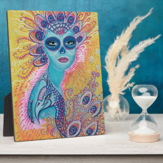 Peacock Sugar Skull Art Plaque