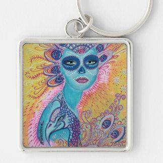 Peacock Sugar Skull Art Silver-Colored Square Key Ring