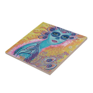 Peacock Sugar Skull Art Tile