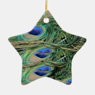 Peacock Tail Feather Blue Eyes With Growth Christmas Ornament