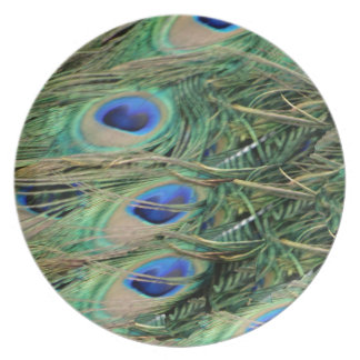 Peacock Tail Feather Blue Eyes With Growth Plate