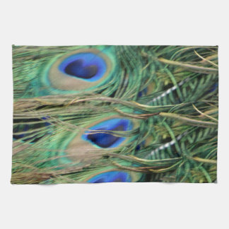 Peacock Tail Feather Blue Eyes With Growth Tea Towel