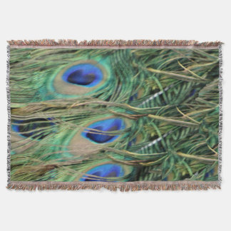Peacock Tail Feather Blue Eyes With New Growth Throw Blanket
