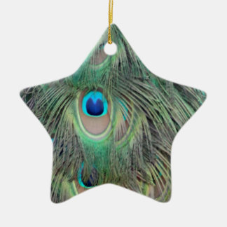 Peacock Tail Feather Large Eyes Christmas Ornament