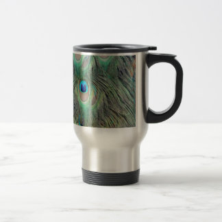 Peacock Tail Feather Large Eyes Travel Mug