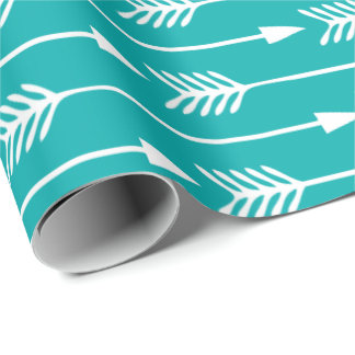 Peacock Teal Arrows Pattern Wrapping Paper