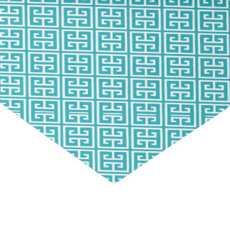 Peacock Teal Greek Key Pattern Tissue Paper