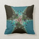 Peacock Teal+Green Fractal Twist Cushion Pillow