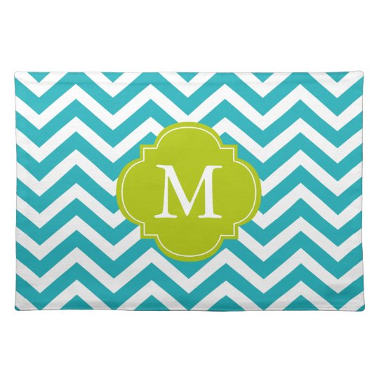 Peacock Teal & Green Zigzags Pattern Monogram Placemat