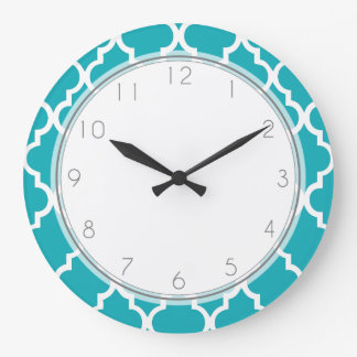 Peacock Teal Quatrefoil Pattern Large Clock