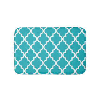 Peacock Teal Quatrefoil Tiles Pattern Bath Mat