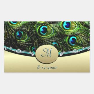 Peacock  Theme Wedding Envelope Seals Rectangular Sticker
