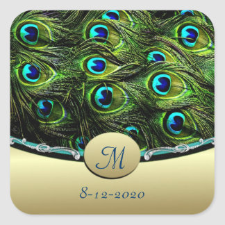 Peacock  Theme Wedding Envelope Seals Square Sticker