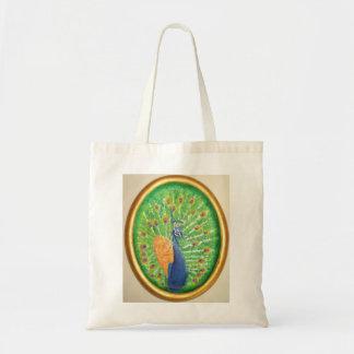 Peacock - tiny Tote Budget Tote Bag