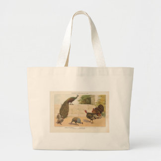 Peacock,Turkey, & Guinea Fowl Large Tote Bag