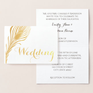 Peacock Typography Gold Foil Wedding Invitations